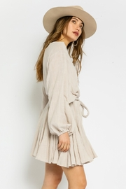 Olivaceous  Gauze Braided Belted Dress - Front full body