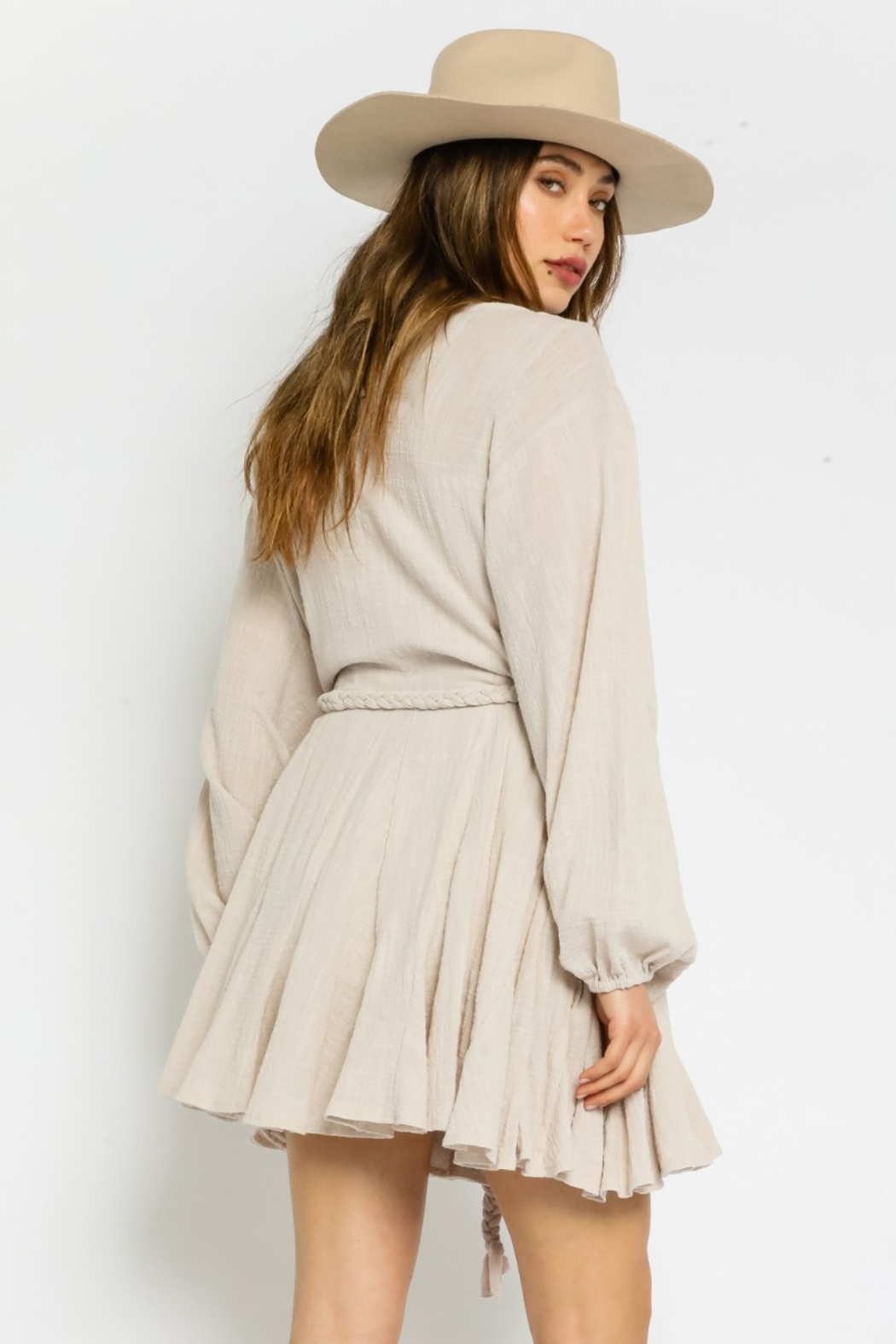 Olivaceous  Gauze Braided Belted Dress - Side Cropped Image