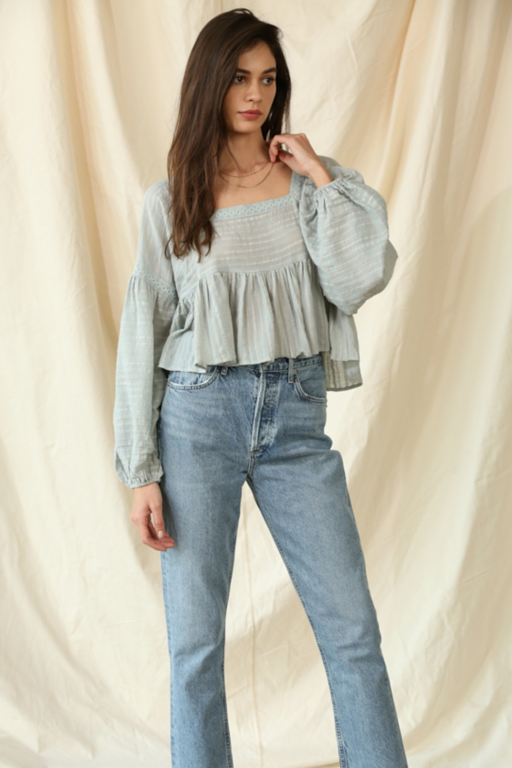 By Together  Gauze Laced Long Sleeve Top - Main Image