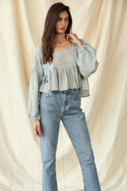 By Together  Gauze Laced Long Sleeve Top - Front cropped