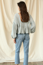 By Together  Gauze Laced Long Sleeve Top - Side cropped