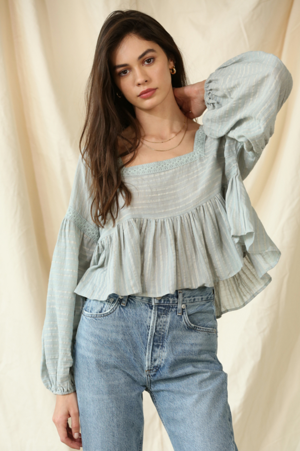 By Together  Gauze Laced Long Sleeve Top - Front Full Image