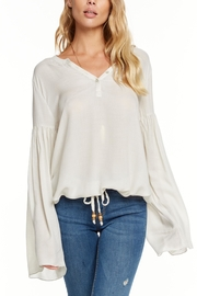 Chaser Gauze Peplum Henley - Front cropped