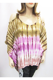 Indian Tropical Gauzy Cold Shoulder Tie Dye Poncho In Beige & Purple - Product Mini Image