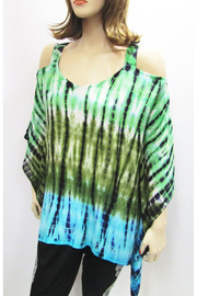 Indian Tropical Gauzy Cold Shoulder Tie Dye Poncho In Greens & Turquoise - Product Mini Image