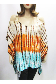 Indian Tropical Gauzy Cold Shoulder Tie Dye Poncho In Orange & Turquoise - Product Mini Image