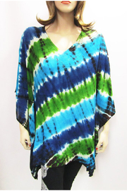 Indian Tropical Gauzy Poncho In Shades Of Diagonal Blue & Green Tie Dye - Product Mini Image