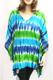 Indian Tropical Gauzy Shades Of Blue & Green Tie Dye Poncho - Product Mini Image