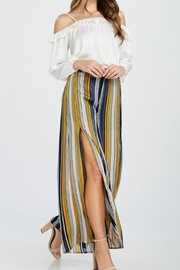 The Boutique Ooh Lala GAUZY STRIPED WIDE-LEG PANT W/SLIT - Product Mini Image