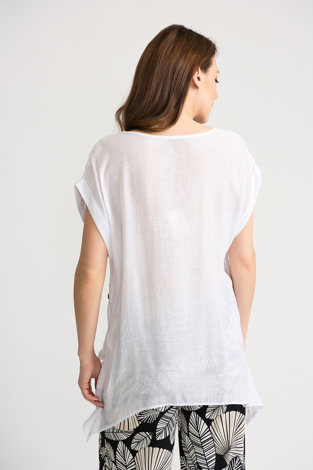 Joseph Ribkoff Gauzy Tunic, White - Side Cropped Image