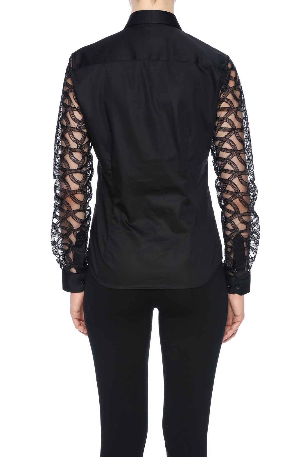 Gazoil Black Lace Shirt - Back Cropped Image