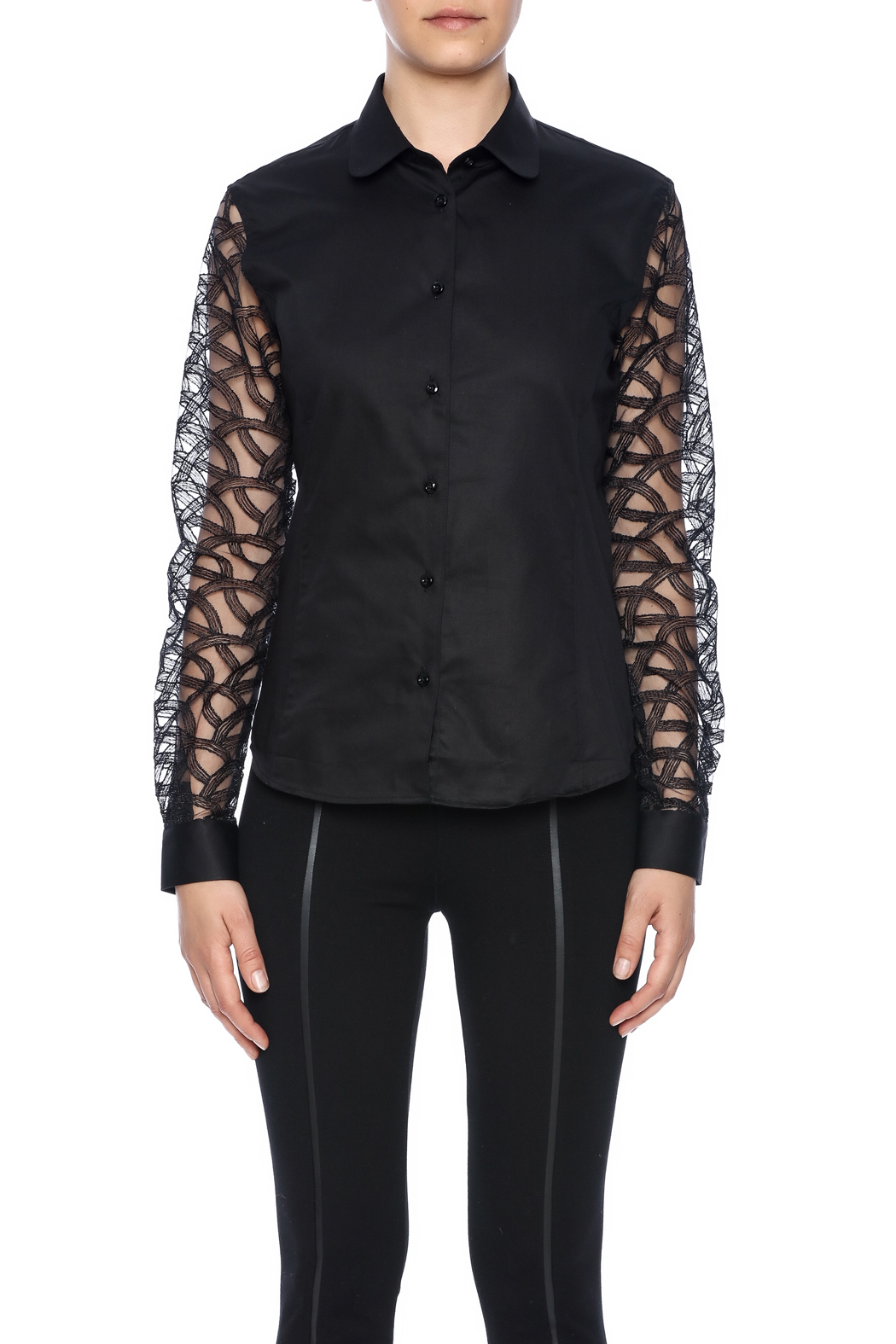 Gazoil Black Lace Shirt - Side Cropped Image