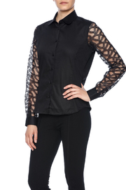 Gazoil Black Lace Shirt - Front cropped