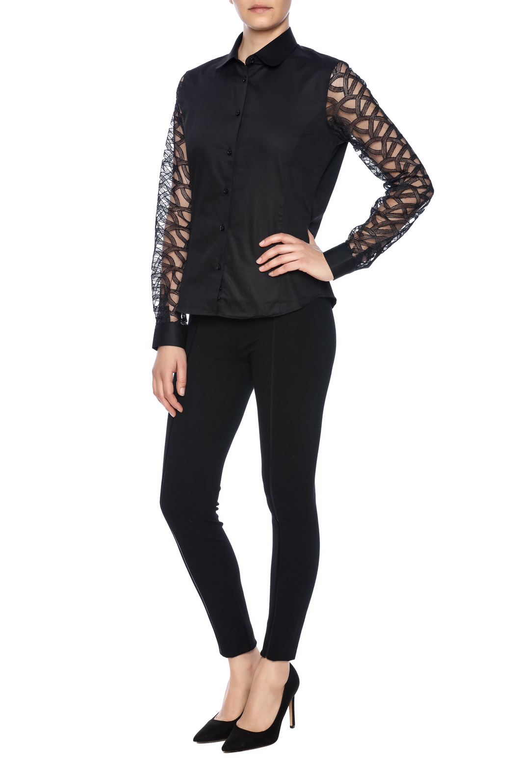 Gazoil Black Lace Shirt - Front Full Image