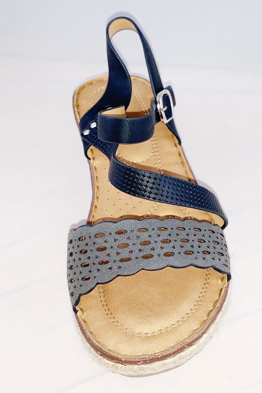 gc shoes Black Strap Wedge - Front Full Image