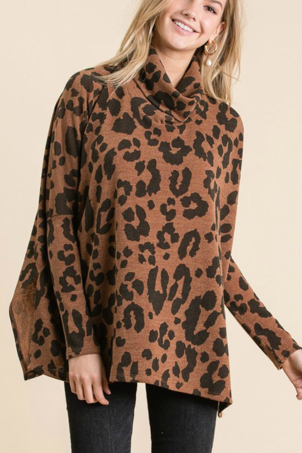 GeeGee Leopard Cowlneck Sweater - Front Full Image