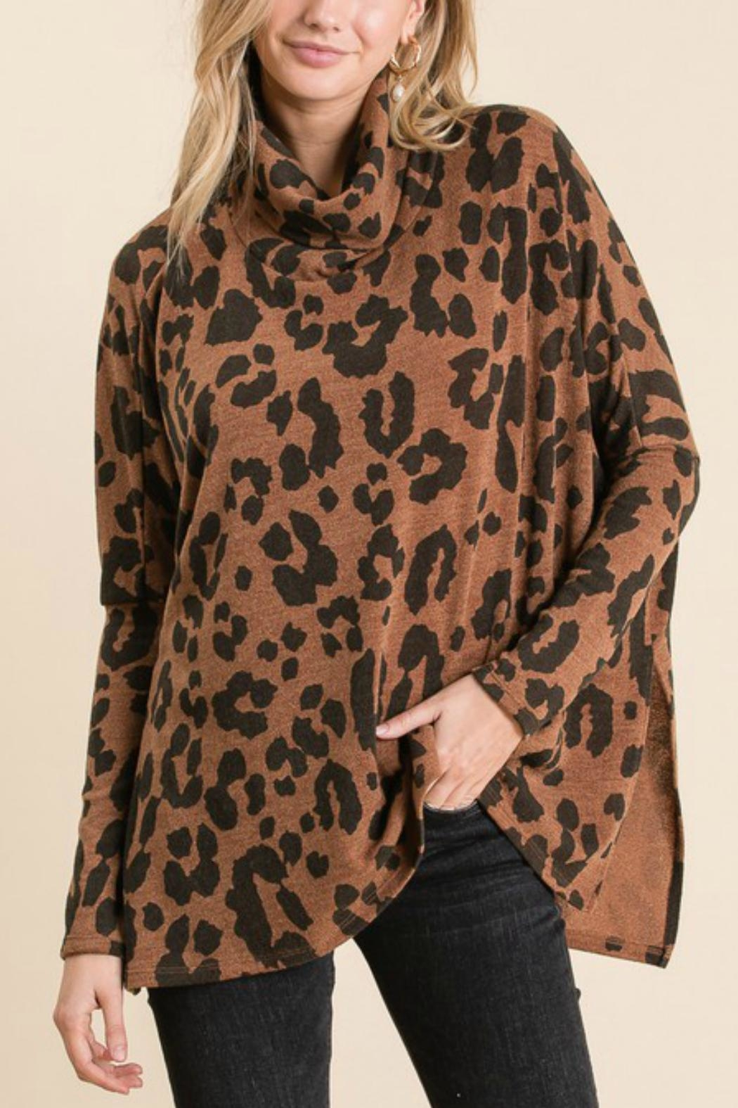 GeeGee Leopard Cowlneck Sweater - Main Image