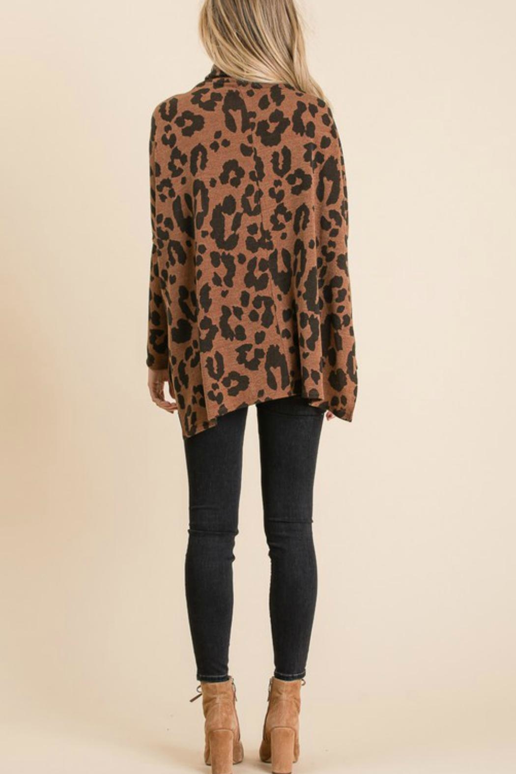 GeeGee Leopard Cowlneck Sweater - Back Cropped Image