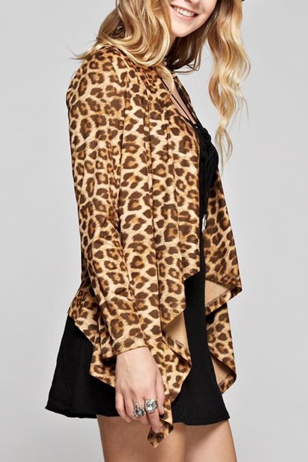 GeeGee Leopard Print Cardigan - Side Cropped Image
