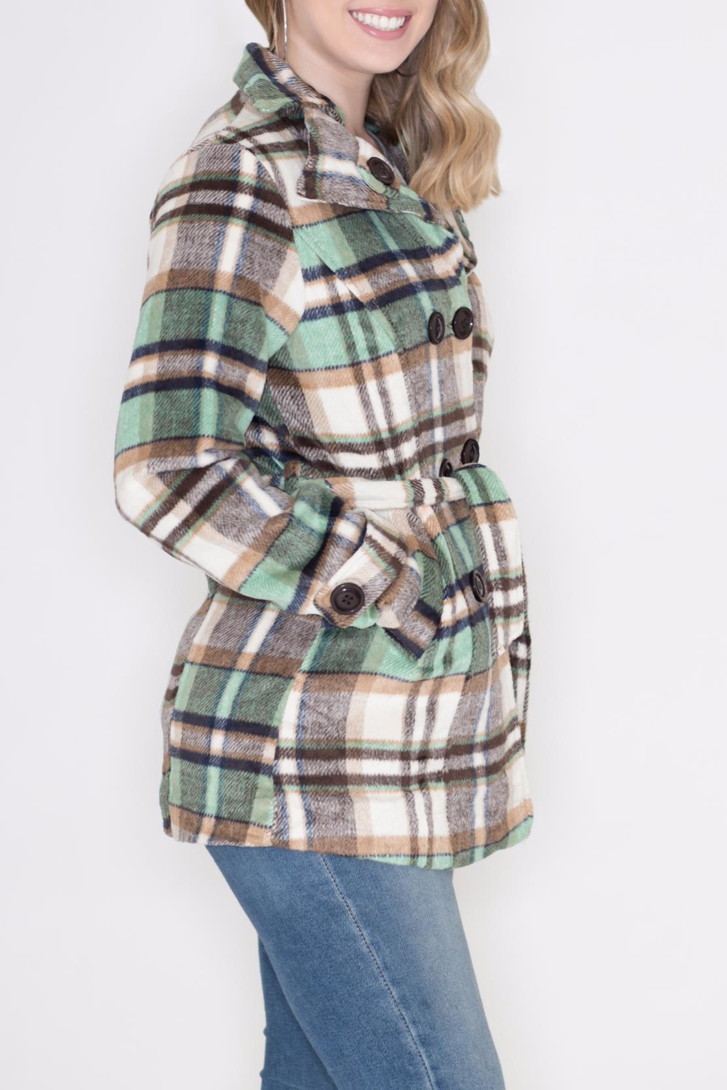 GeeGee Plaid Peacoat - Front Full Image
