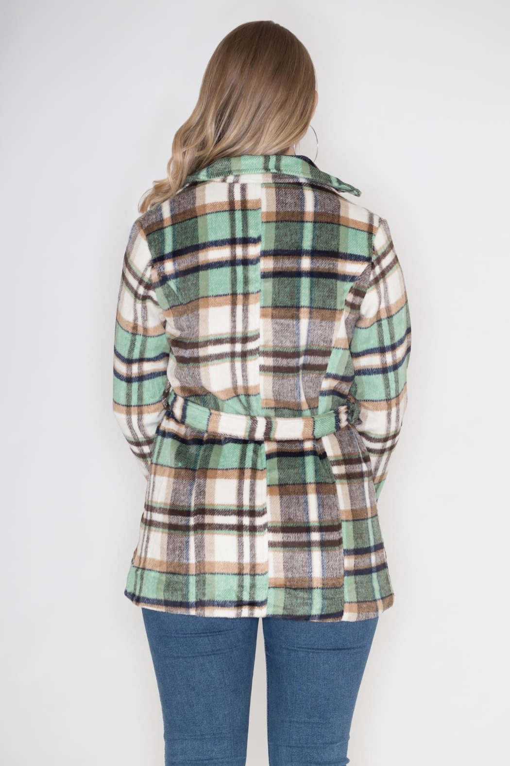 GeeGee Plaid Peacoat - Side Cropped Image