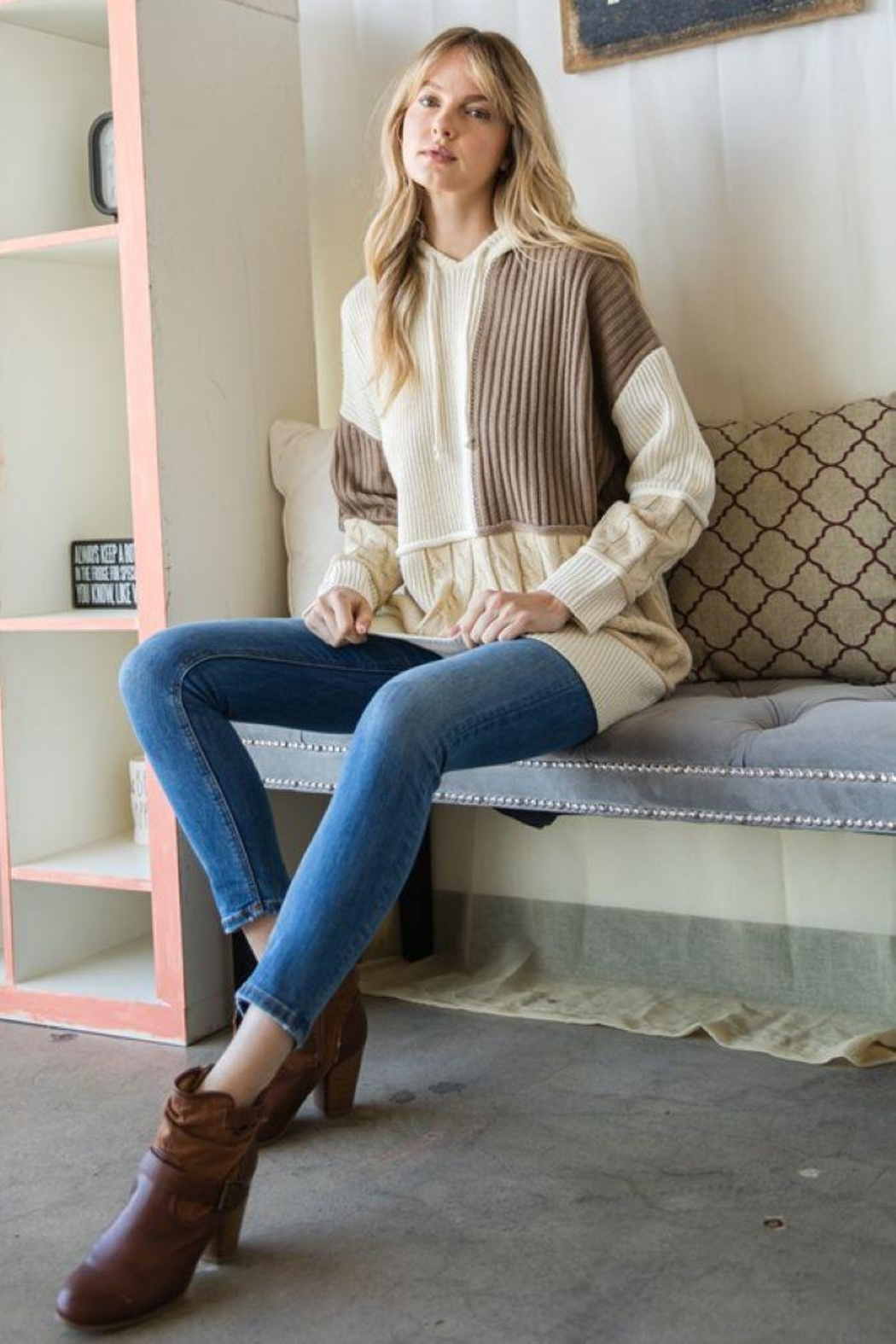 GeeGee Pullover Color Block Sweater - Front Full Image