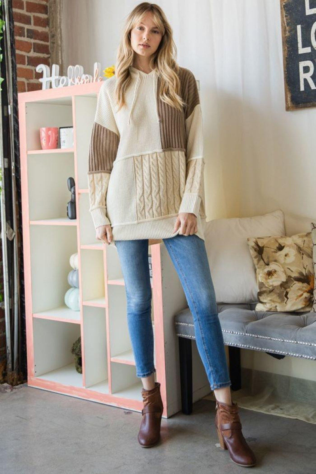 GeeGee Pullover Color Block Sweater - Main Image