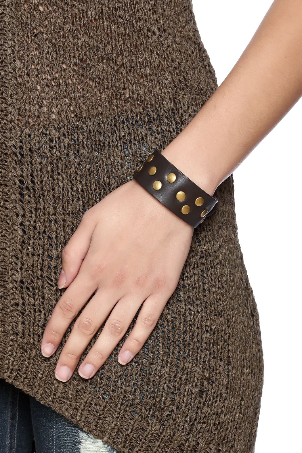 Gemini Mermaids Studded Leather Cuff - Back Cropped Image