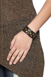 Gemini Mermaids Studded Leather Cuff - Back cropped