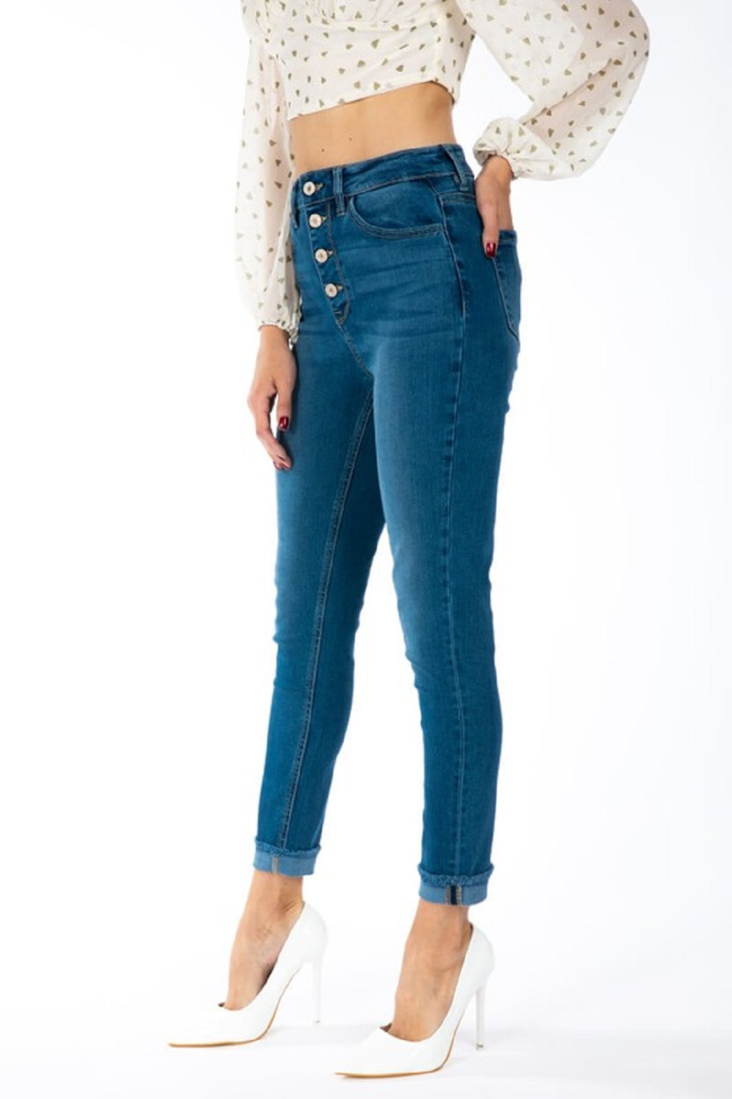KanCan Gemma Button Down Skinny - Side Cropped Image