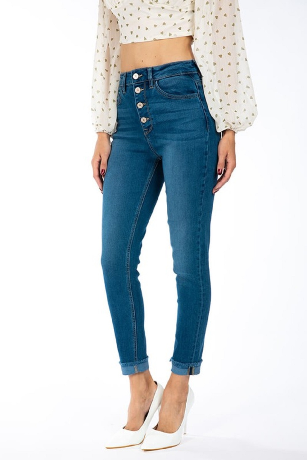 KanCan Gemma Button Down Skinny - Front Cropped Image