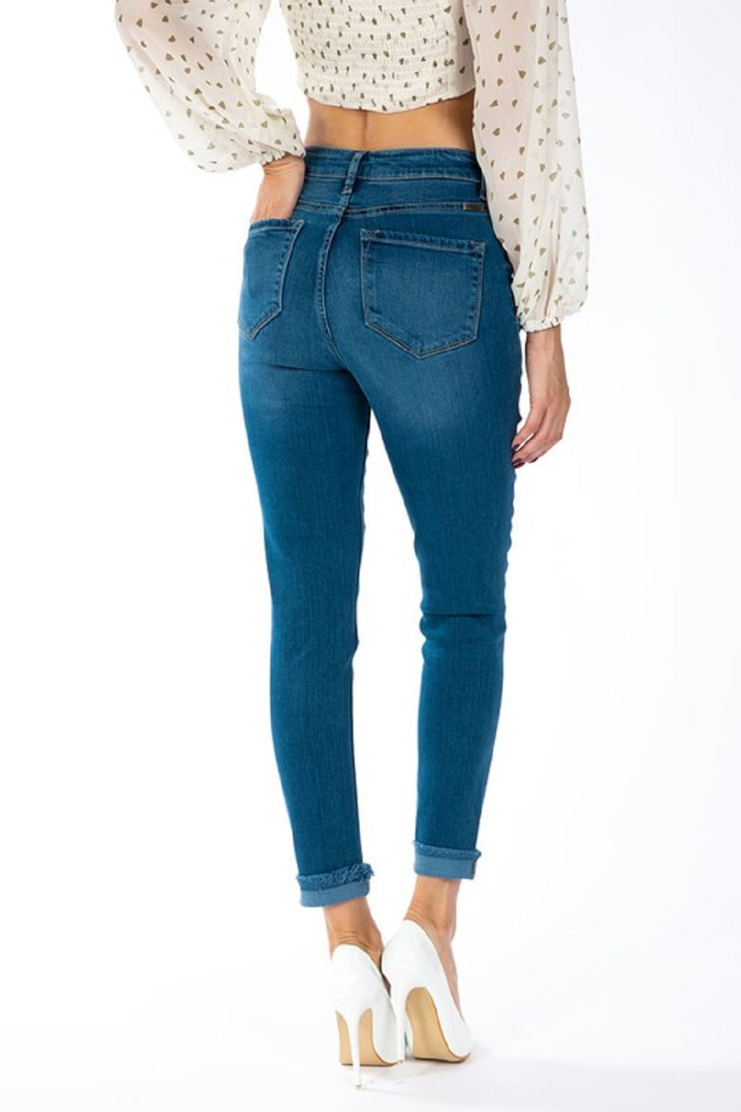 KanCan Gemma Button Down Skinny - Back Cropped Image