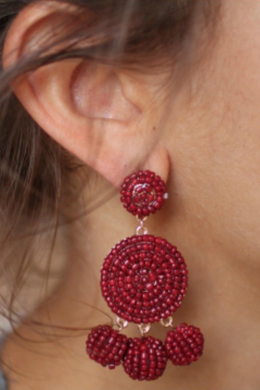 Gemma Collection Beaded Garnet Earrings - Front Full Image