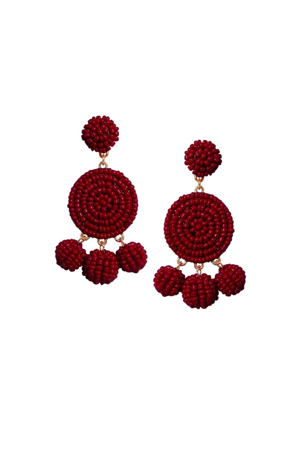 Gemma Collection Beaded Garnet Earrings - Main Image