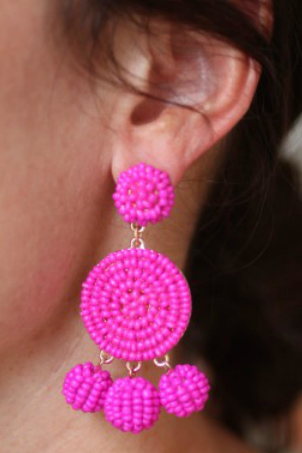Gemma Collection Beaded Magenta Earrings - Front Full Image