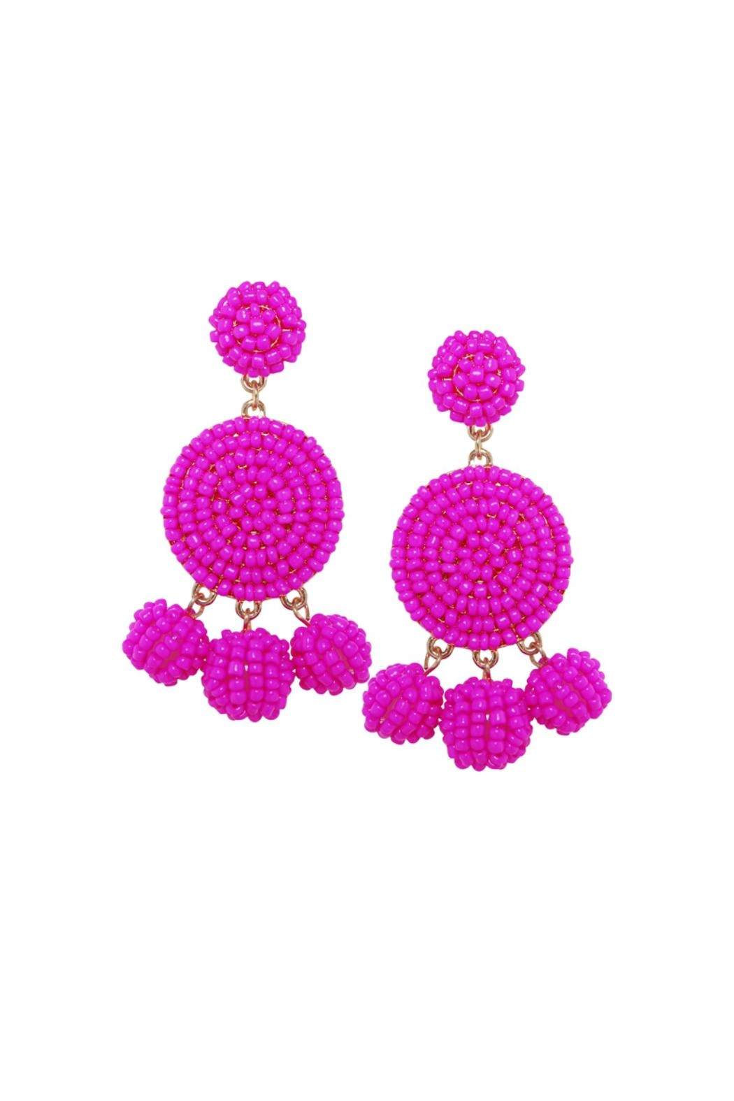 Gemma Collection Beaded Magenta Earrings - Main Image