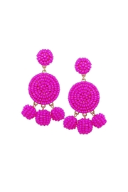 Gemma Collection Beaded Magenta Earrings - Product Mini Image