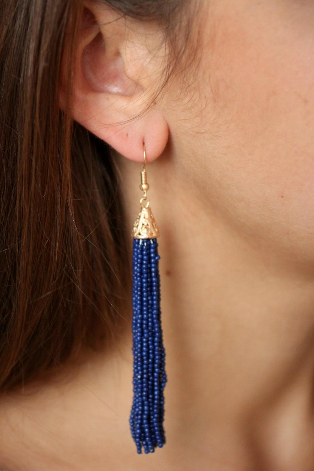 Gemma Collection Beaded Tassel Earrings - Main Image
