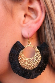 Gemma Collection Black Fan Earrings - Product Mini Image