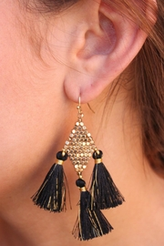 Gemma Collection Black Tassel Earrings - Product Mini Image