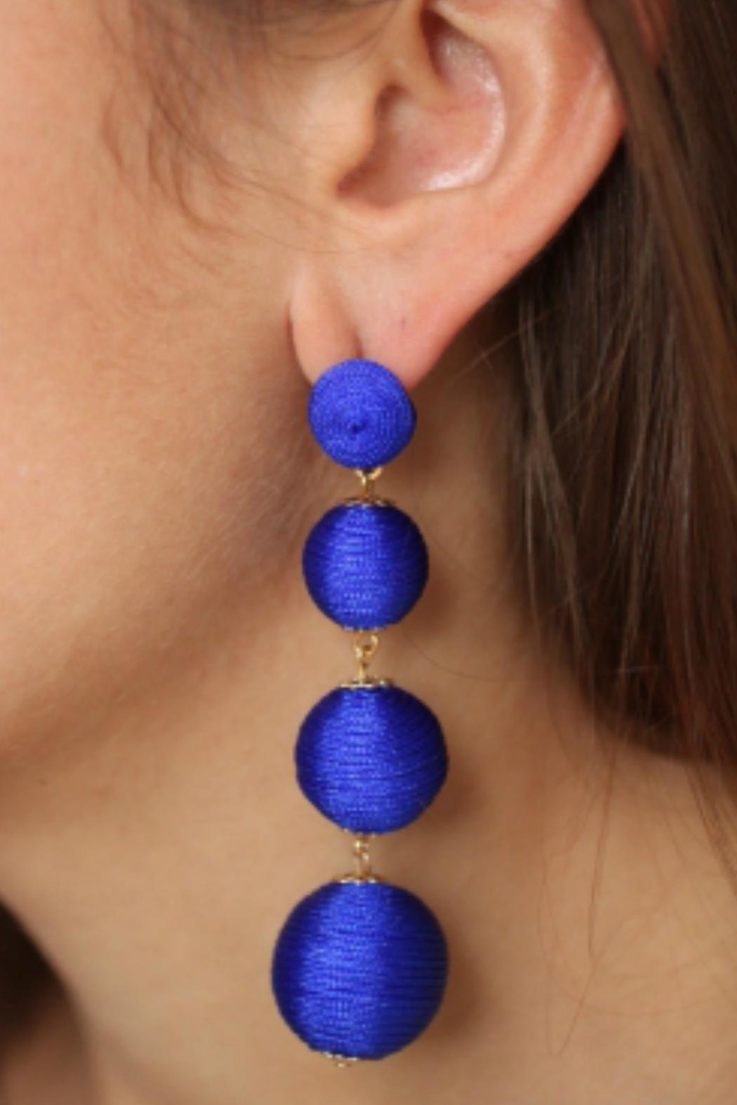 Gemma Collection Blue Ball Earrings - Front Full Image