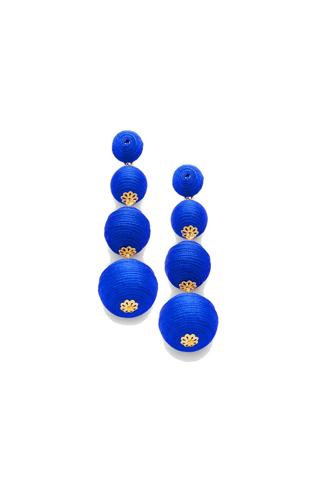 Gemma Collection Blue Ball Earrings - Main Image