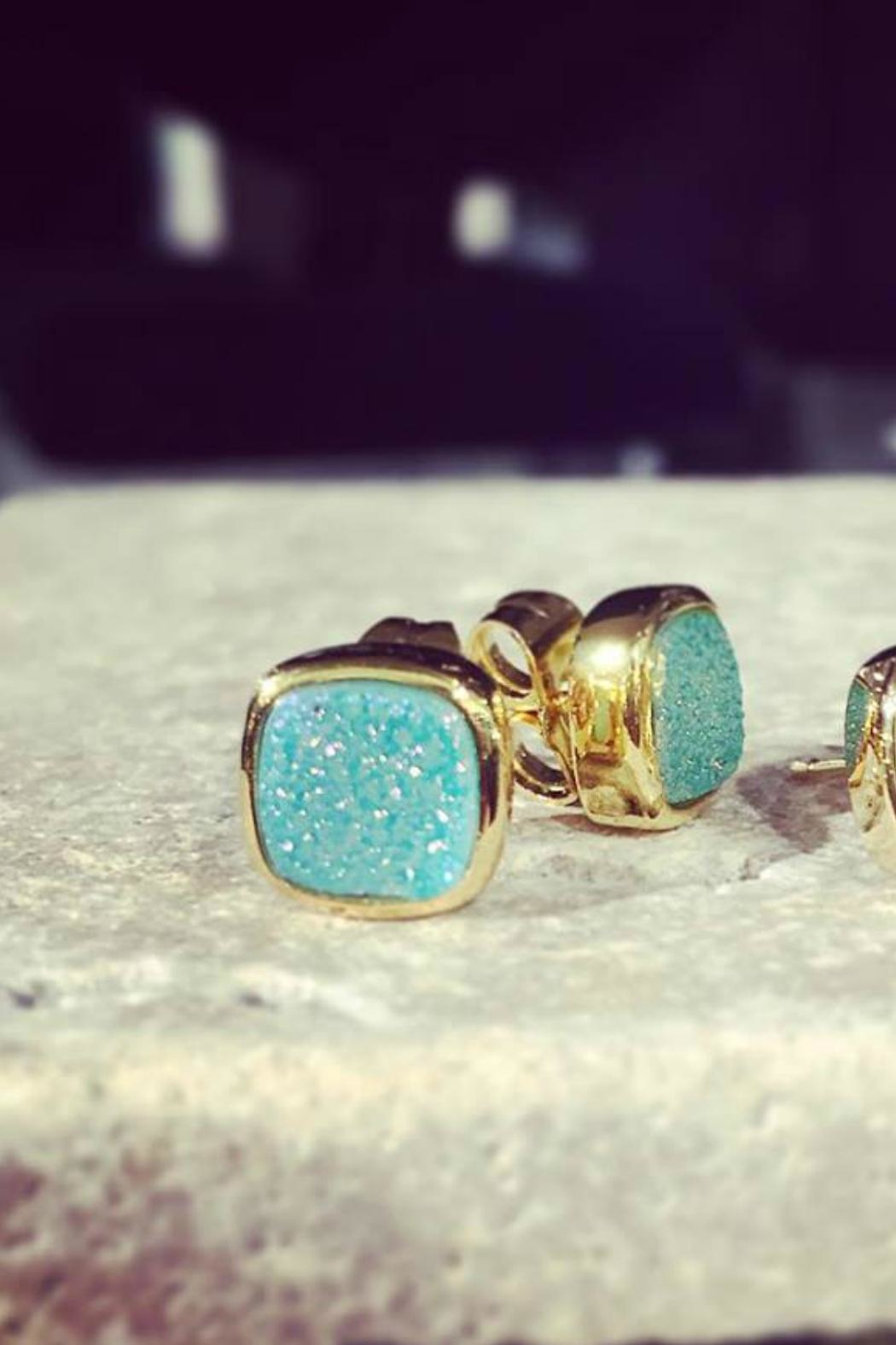 Gemma Collection Blue Druzy Studs - Front Full Image