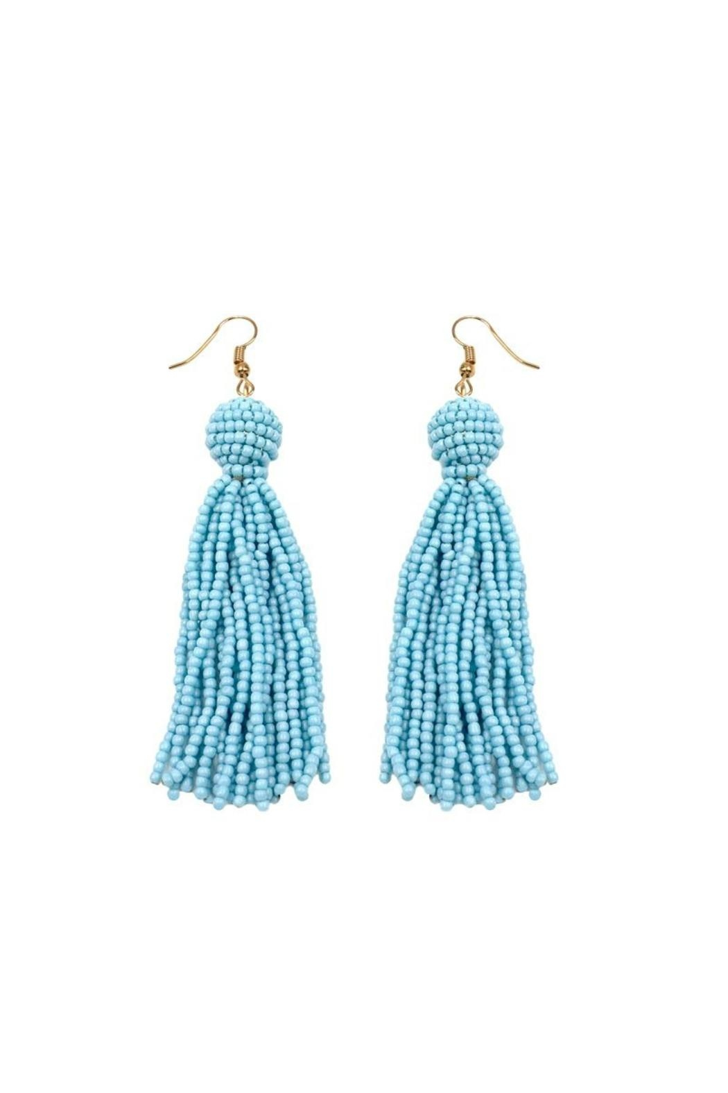 Gemma Collection Blue Tassel Earrings - Front Cropped Image