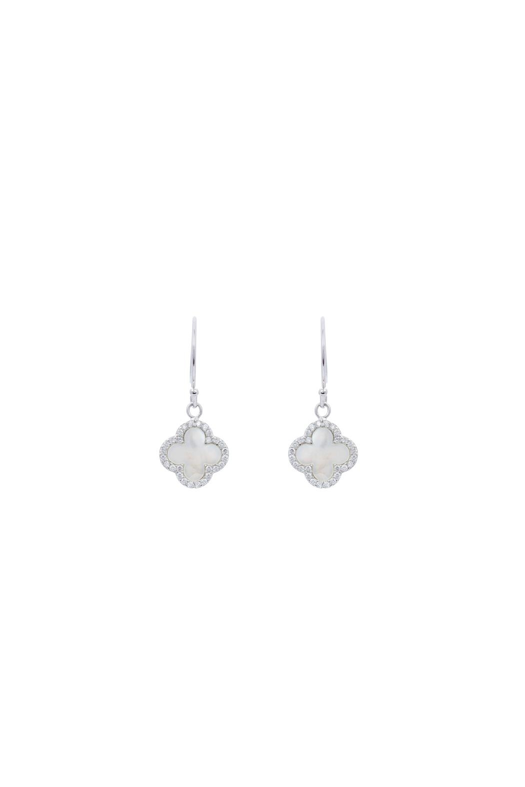 Gemma Collection Clover Pave Earrings - Main Image