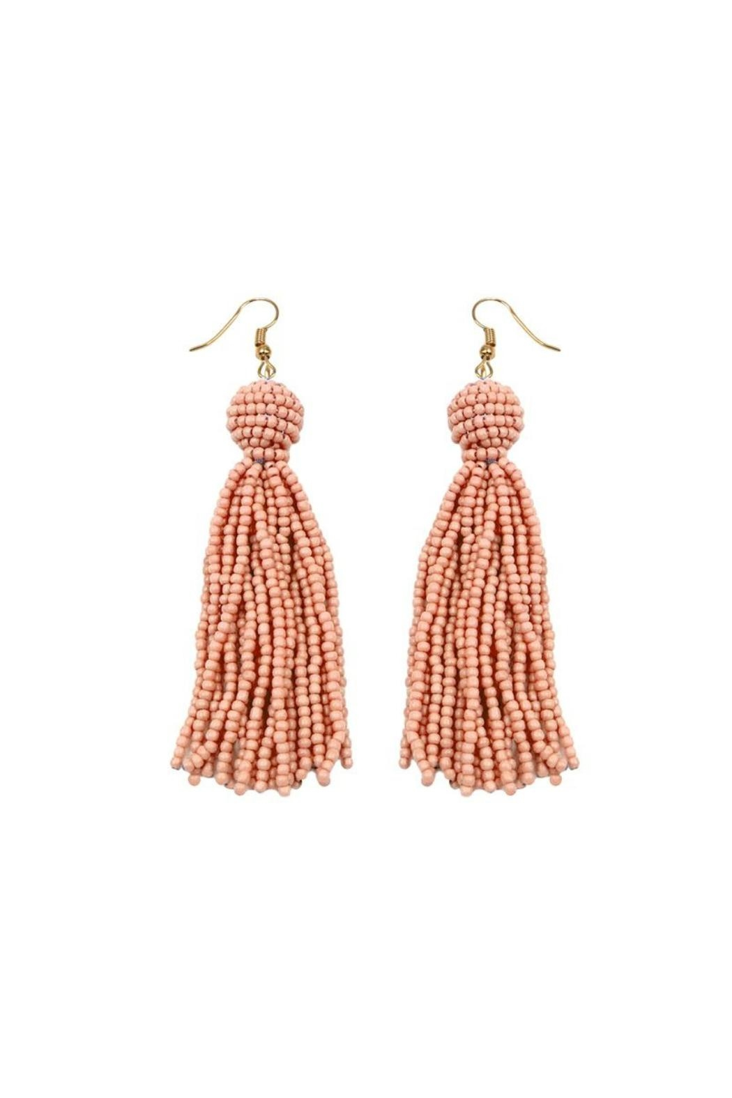 Gemma Collection Coral Tassel Earrings - Front Cropped Image