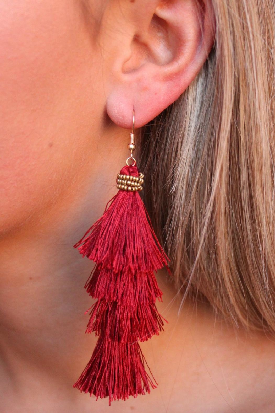 Gemma Collection Garnet Tassel Earrings - Front Cropped Image