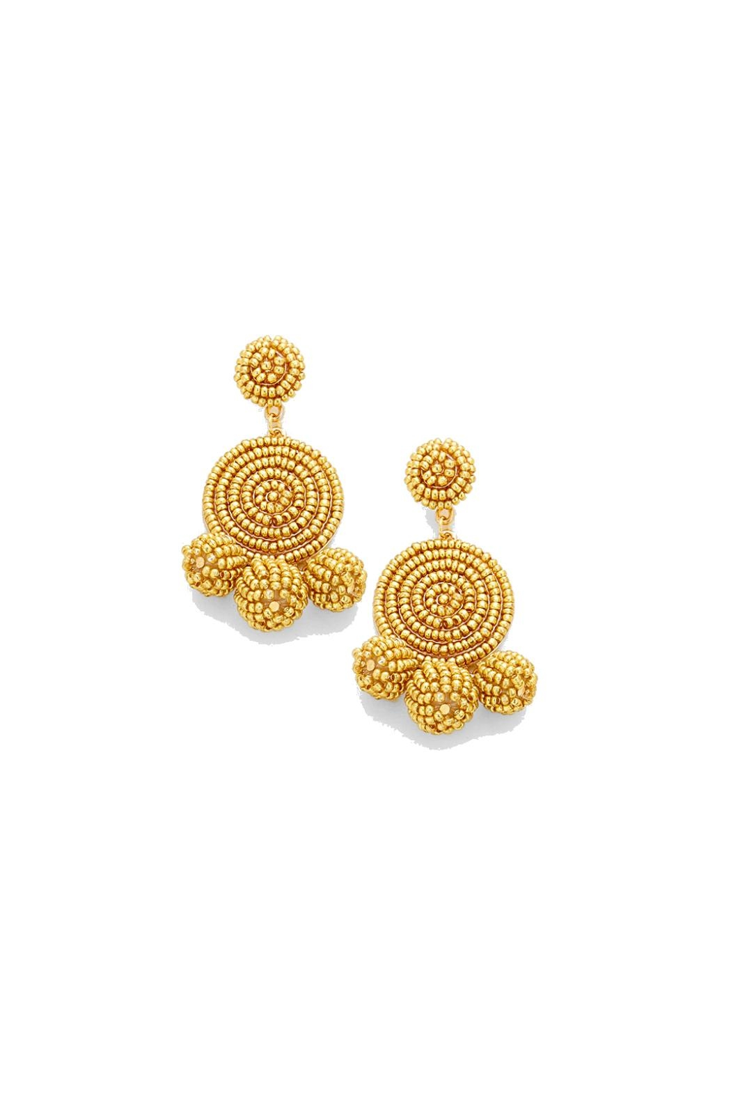 Gemma Collection Golden Beaded Earrings - Main Image