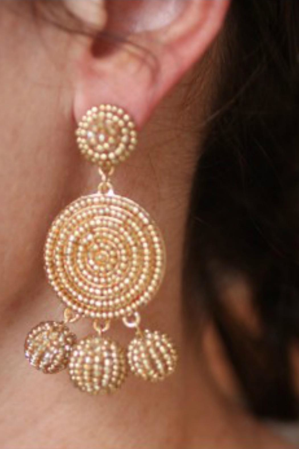 Gemma Collection Golden Beaded Earrings - Front Full Image