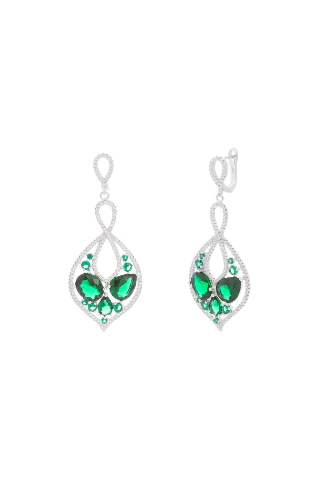 Gemma Collection Green Statement Earrings - Main Image